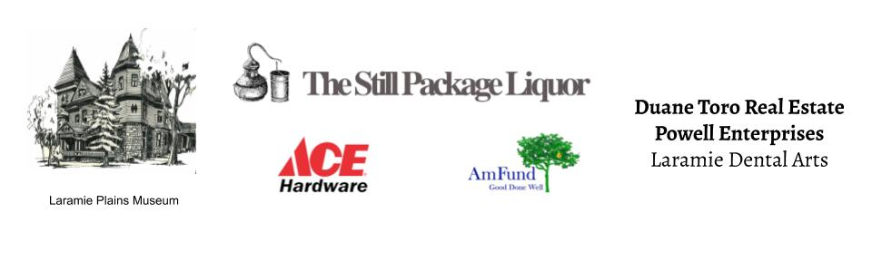 Logos of the 2020 Trattoria Promessa Sponsers: The Still Package Liquor, Ace Hardware, AmFund, Laramie Plains Museum, Duane Torro Real Estate, Powell Enterprises, and Laramie Dental Arts