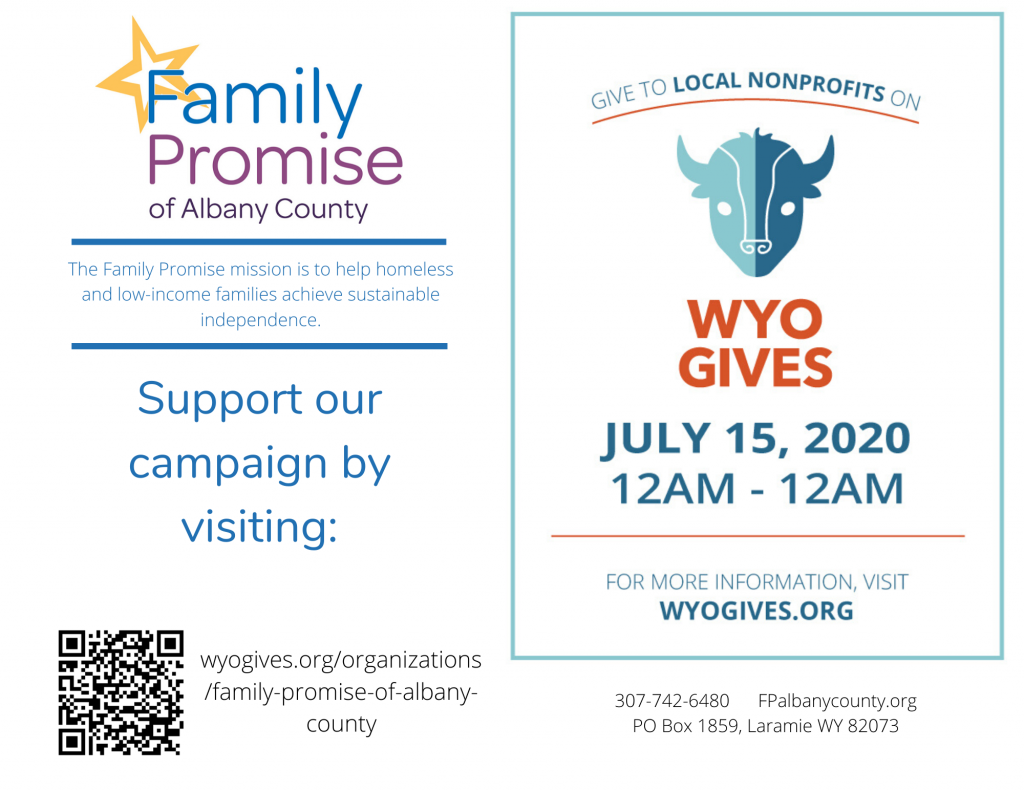 Support Family Promise of Albany County for WyoGives Day 2020 - July 15, 2020. Visit wyogives.org